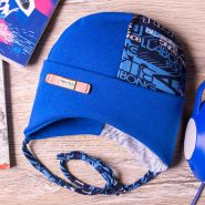 РБ Шапка трикотажная, на завязках с отворотом, с буквами, синяя