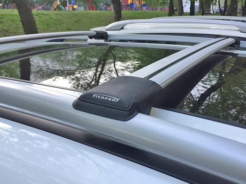 Багажник на рейлинги Nissan X-Trail T32, FicoPro R-54, серебристый, крыловидные аэродуги