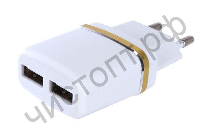 СЗУ с 2 USB выходами PERFEO 2.1А (I4615) цветной пакет