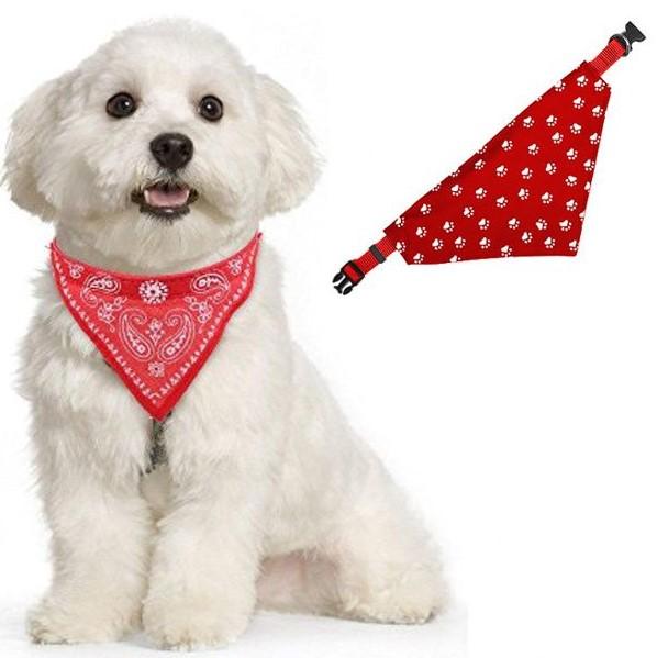 Ошейник-Бандана Для Собак Лапки, 30-48 См, Цвет Красный