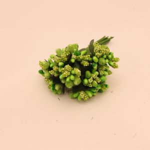 Тычинки в связках перламутровые, цвет - темно зеленое яблоко, 1уп = 6 связок (1 связка = 11-12 букетиков)