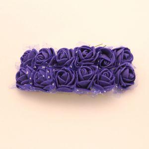 `Цветы из фоамирана с органзой, 25 мм, 11-12 цветков, цвет: темно синий