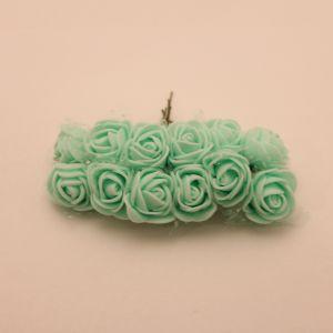 `Цветы из фоамирана с органзой, 25 мм, 11-12 цветков, цвет: светло-зеленый мятный