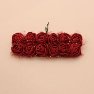 `Цветы из фоамирана с органзой, 25 мм, 11-12 цветков, цвет: бордовый