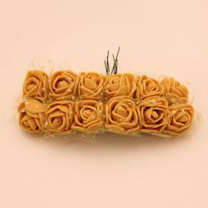 `Цветы из фоамирана с органзой, 25 мм, 11-12 цветков, цвет: тигрово-желтый