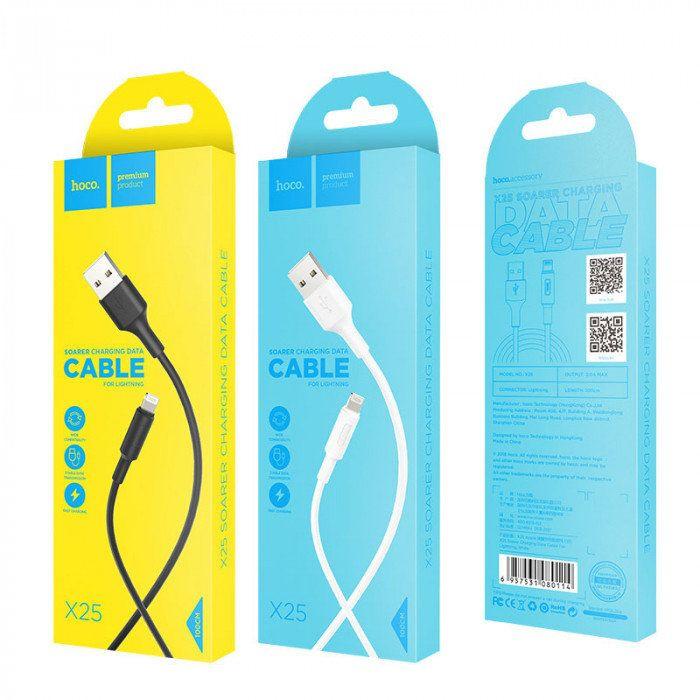 Кабель USB-lightning Hoco X25 Soarer, 1м, белый
