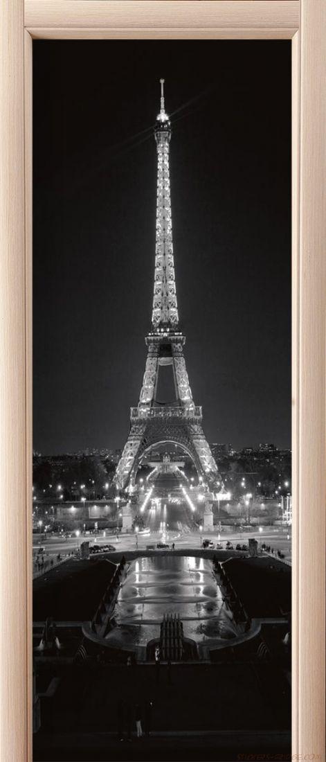 Наклейка  на дверь - Париж ночь