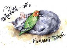 Почтовая открытка Любовь - это теплый бочок