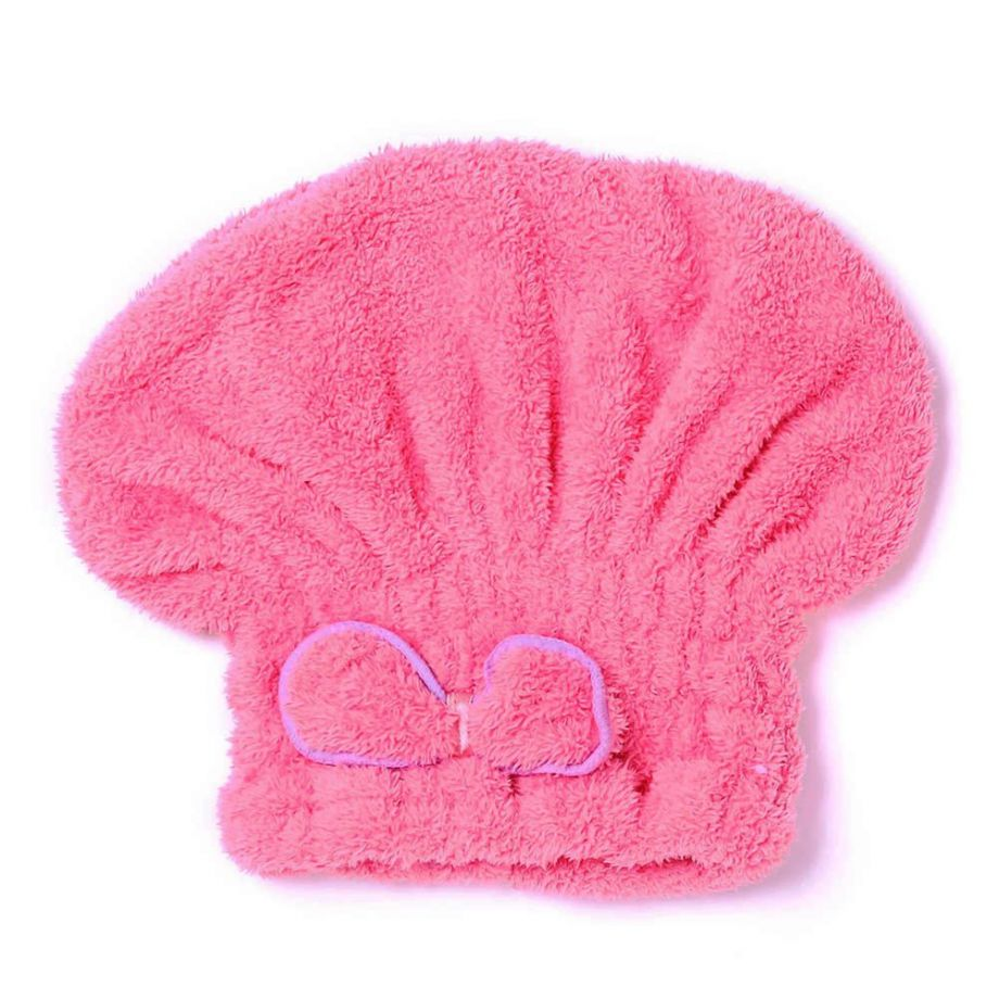 Мягкая махровая шапочка для быстрой сушки волос, Цвет Темно-Розовый