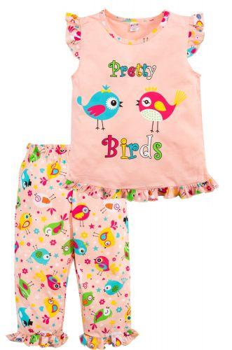 Пижама для девочек 3-7 лет Bonito коралловая с птичками