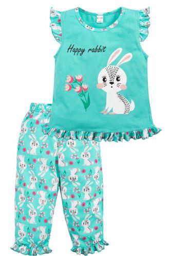 Пижама для девочек 3-7 лет Bonito бирюзовая с зайкой