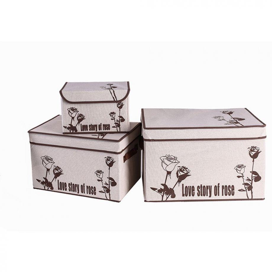Короб для хранения вещей Love Story Of Rose, 44х29х30 см, Коричневые Розы