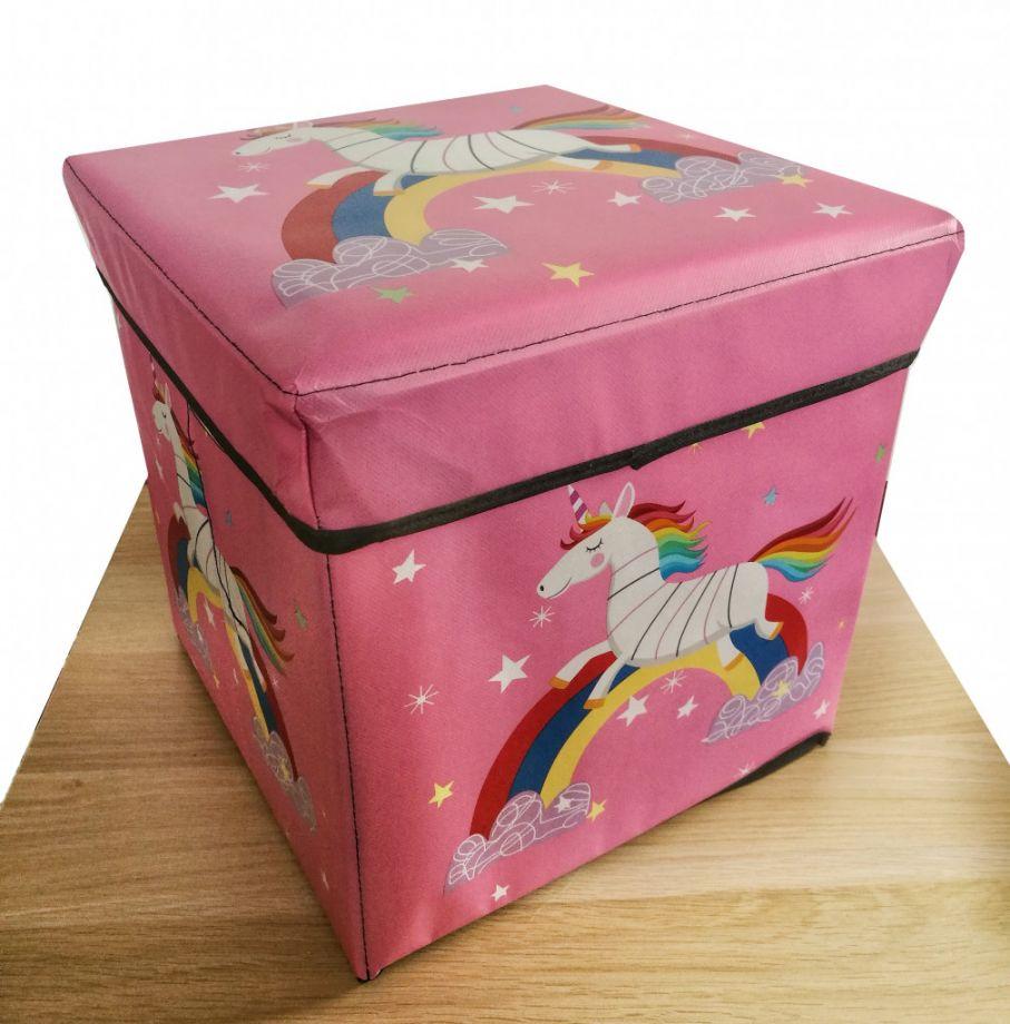 Детский складной пуф-короб для хранения 2 в 1, 29х30х30 см, Розовый Единорог