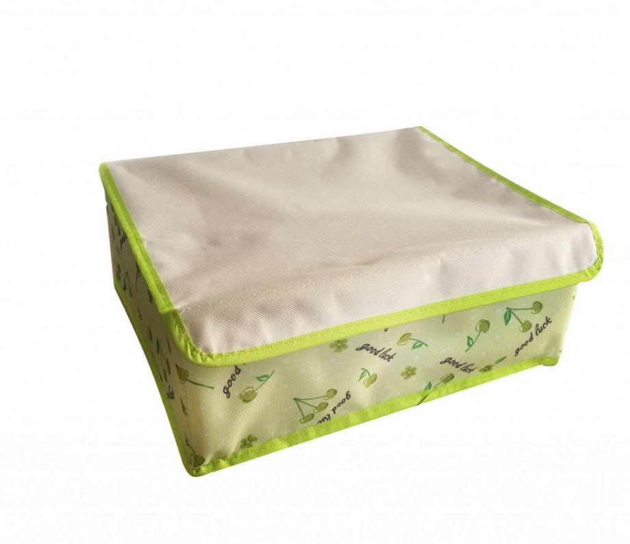 Складной кофр для хранения вещей с ячейками, 32х26х12 см, Зеленый с вишенками