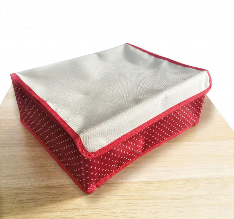 Складной кофр для хранения вещей с ячейками, 32х26х12 см, Красный в горошек