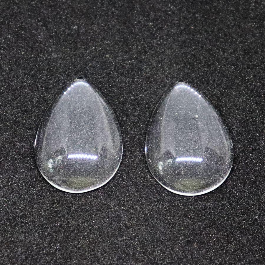 Кабошон, капля, стекло прозрачное, 25*18 мм, 2 шт/упак