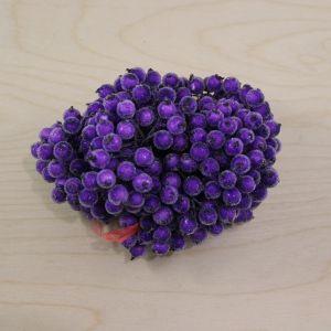 `Ягоды в сахарной обсыпке 12 мм (длина 16см), цвет фиолетовый, 1 уп = 40 ягодок ( 20 веточек), Р-ЯГ0047-1-40