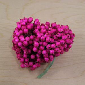 Ягоды в сахарной обсыпке 12 мм (длина 16см), цвет - ярко-розовый. 1 уп = 400 ягодок