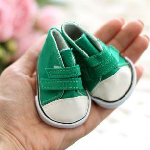 Обувь для кукол кеды на липучках 7,5 см  -  зеленые