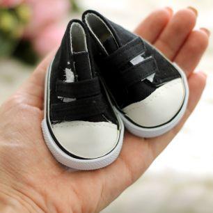 Обувь для кукол кеды на липучках  7,5 см  -  черные