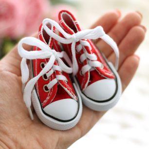 Обувь для кукол Тильда 7,5 см красные кеды