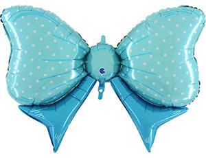 Бант голубой в горох фольгированный шар с гелием