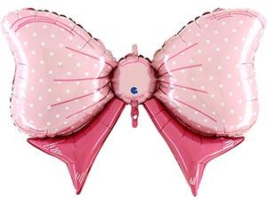 Бант розовый в горох шар фольгированный с гелием