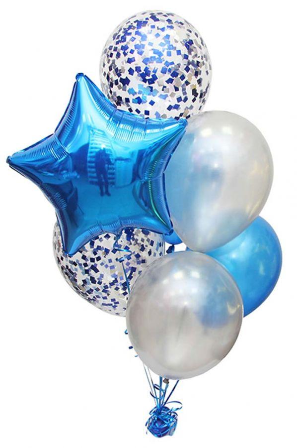Набор шаров с синими конфетти