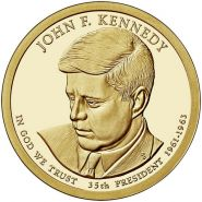 35-й президент США - Джон Ф. Кеннеди. 1 доллар США 2015 года