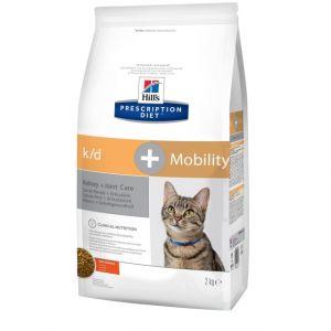 Корм сухой Hill's Diet k/D + Mobility для кошек лечение почек + поддержка суставов с курицей, 2кг