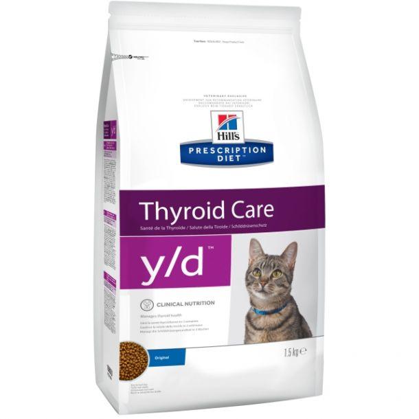 Корм сухой Hill's Diet y/d Thyroid Care для кошек для поддержания здоровья щитовидной железы, 1,5кг