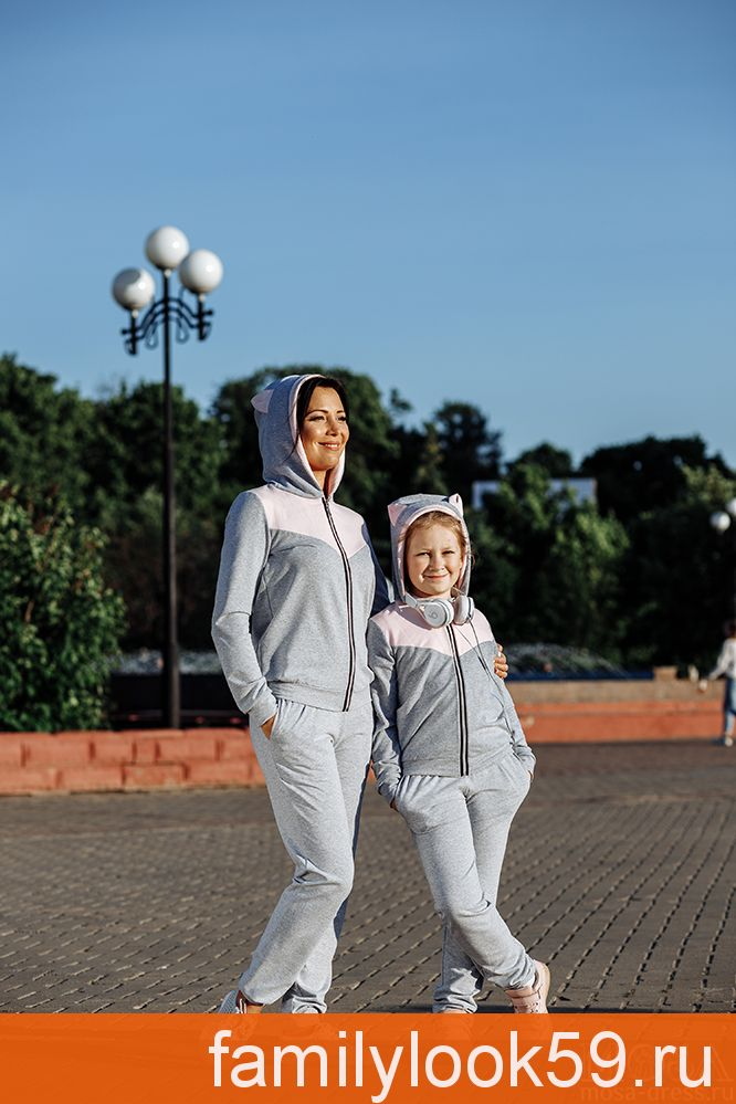 """Спортивный костюм для мамы и дочки в одном стиле """"Кошки"""" М-2089"""