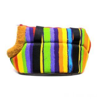 Сумка-переноска для собак с меховой отделкой Геометрия, Рисунок: Полоски  цветные