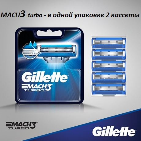 Лезвия Gillette Mach3 Turbo (2шт)
