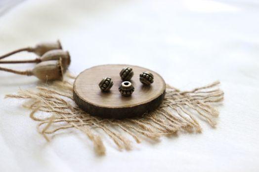 Металлические бусины, Рондель с точками, бронза 5 мм, 4 шт/упак