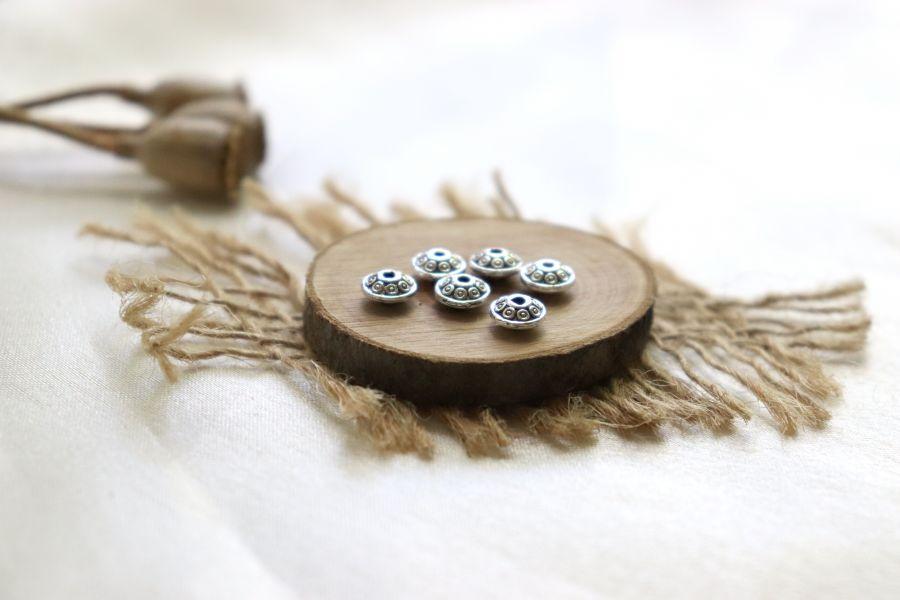 Металлические бусины, Рондель диск точки, тиб.серебро 6 мм, 8 шт/упак