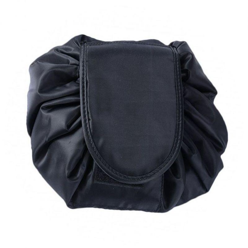 Ленивая нейлоновая косметичка-мешок на липучке, цвет черный