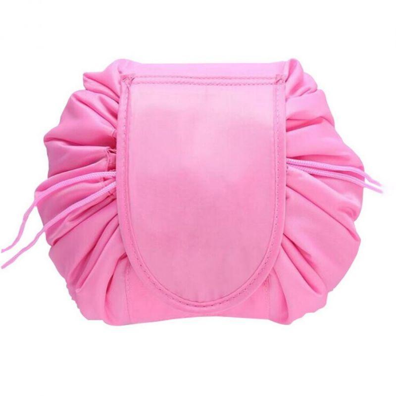 Ленивая нейлоновая косметичка-мешок на липучке, цвет тёмно-розовый