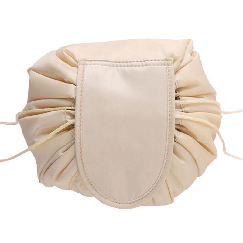 Ленивая нейлоновая косметичка-мешок на липучке, цвет бежевый