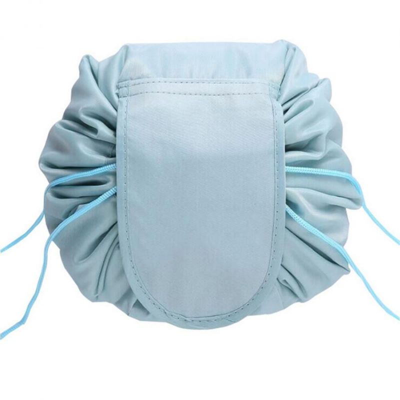 Ленивая нейлоновая косметичка-мешок на липучке, цвет серый