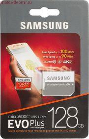 Карта памяти microSDXC UHS-I U3 SAMSUNG EVO PLUS 2 128 ГБ, 100 МБ/с, Class 10, MB-MC128GA/RU
