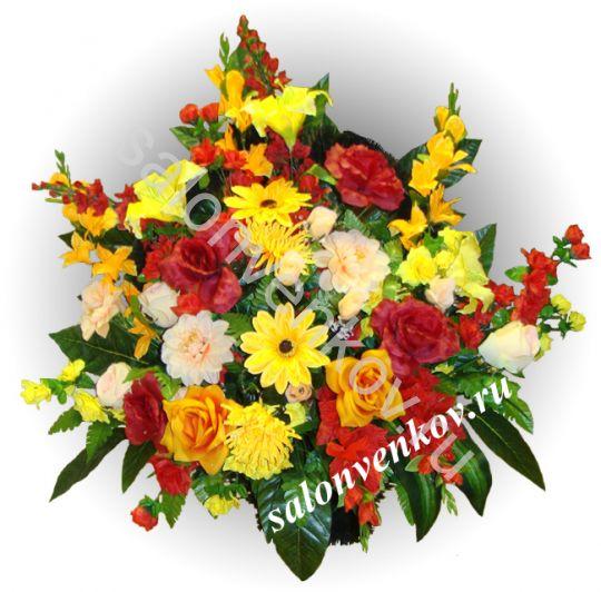 Ритуальная корзина из искусственных цветов N16, РАЗМЕР 60см, 80см,90 см