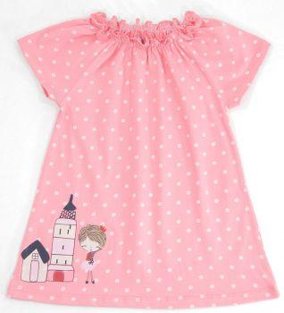 Платье для девочек 6-18 мес.Bonito коралловое в горошек