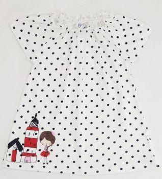 Платье для девочек 6-18 мес.Bonito белое в горошек