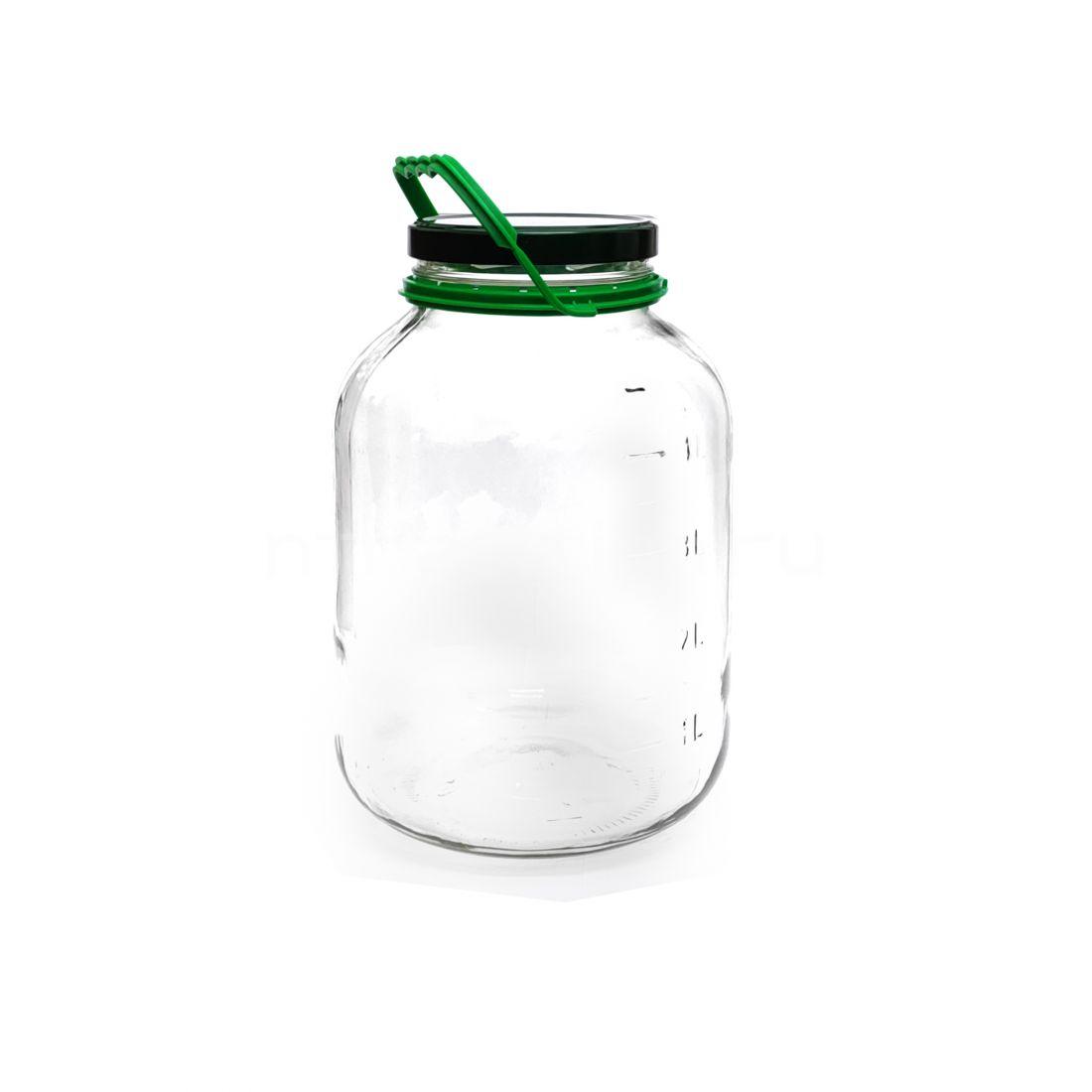 Стеклянная банка 5 литров с делениями (крышка винт в комплекте)