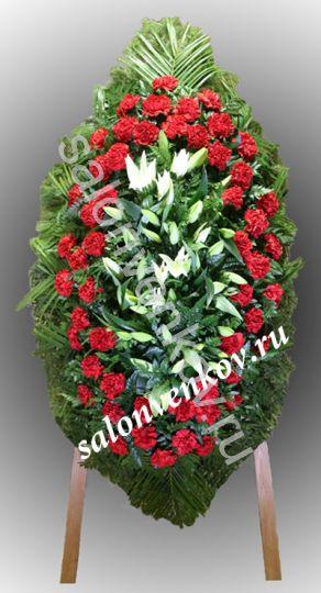 Элитный траурный венок из живых цветов №107, РАЗМЕР 100см,120см,140см,170см