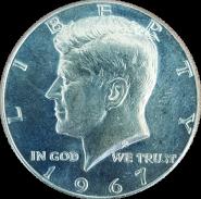 50 ЦЕНТОВ 1967 года США Кеннеди, СЕРЕБРО