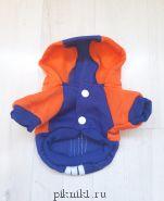 Спортивная толстовка с капюшоном оранжево-синяя