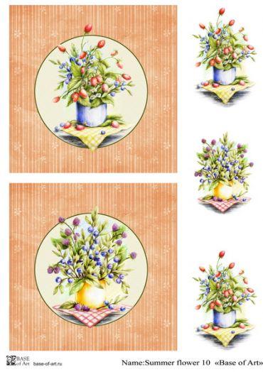 Декупажная карта Base of art, 30*60 см, Summer flower 10