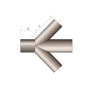 Крестовина сварная 250 45˚ ПЭ 100 SDR 17